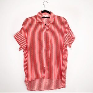 Maje Orange Striped Button Down Short Sleeve